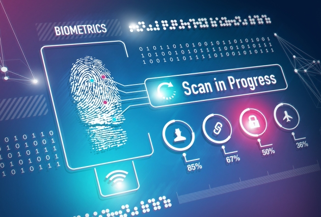 Fingerprint scan security system and technology concept