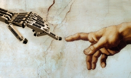 Michelangelo's iconic image of God giving life to Adam is reimagined for the robotic age. Here, God gives life to a robot, a new kind of futuristic Adam.