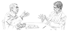 """Jacques Testart et Laurent Alexandre, à l'occasion du débat organisé dans les locaux de """"We Demain"""" début janvier (Illustration : Fabien Clairefond pour We Demain)"""