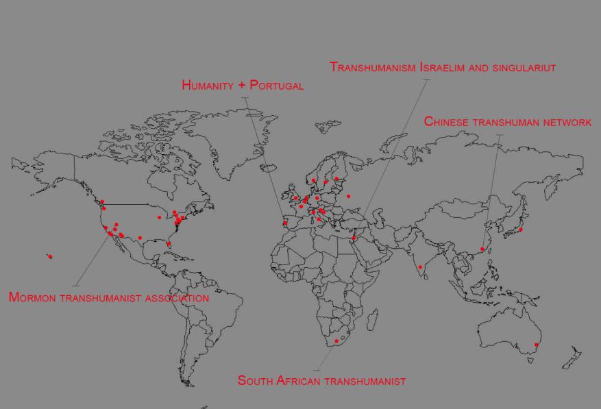 Carte des foyers transhumanistes (2014) Crédit: meetup.com ; humanityplus.org