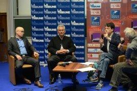 Serge Guérin, Philippe Kourilsky et Laurent Alexandre. (Crédit : Laurent Cerino / ADE)